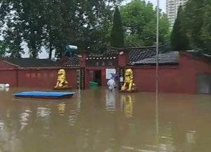 暴雨之后的湖北省宜城市观音寺
