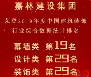 中国建筑装饰行业百强榜单公布,嘉林建设集团的排名再次攀升