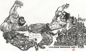 """中西结合,打破""""二元对立""""——著名艺术家周东申将世界语言刻入水浒木版画"""