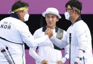 奥运射箭男人集体赛-韩国队第二轮全数十环夺金