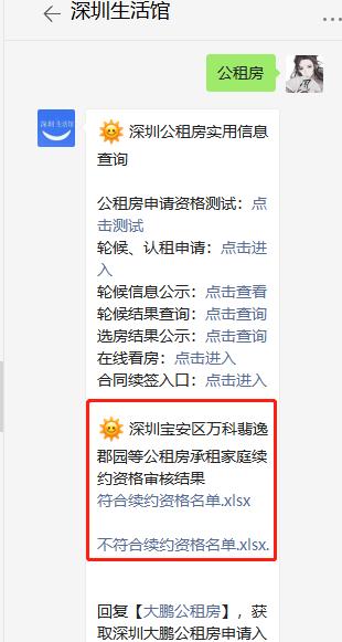 2021年深圳宝安区万科翡逸郡园等公租房承租家庭续约资格审核结果名单及续约条件