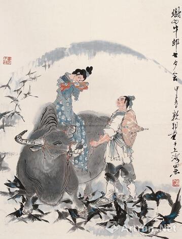 戴敦邦 1984年作 《织女牛郎七夕会》 立轴 设色纸本 68.5×53cm