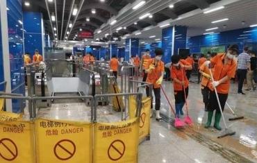 广州地铁神舟路站积水已基本排干