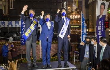 日本各党派举行竞选集会