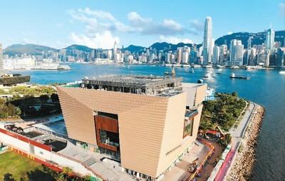 香港故宫文化博物馆计划在2022年7月正式向公众开放,届时将成为维多利亚港旁的文化新地标之一。图为矗立在西九文化区的香港故宫文化博物馆。  中新社记者 张 炜摄