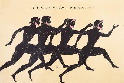 表现赛跑的瓶画图案。古希腊赛会中,田径赛含200米短跑、400米双程跑、4800米长跑、着盔甲跑400米等项目。 资料图片