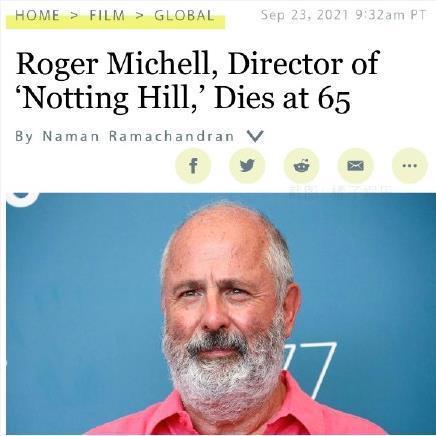 外媒称导演罗杰·米歇尔去世 曾执导《诺丁山》