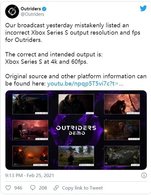 开发商澄清:《Outriders》XSS版支持4K/60帧 流言并不属实