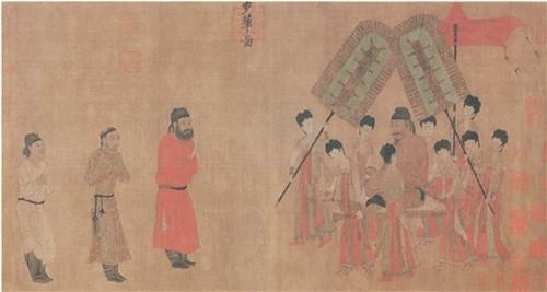 唐 阎立本 步辇图(局部, 唐太宗接见吐蕃使臣时所着的服饰) 北京故宫博物院藏