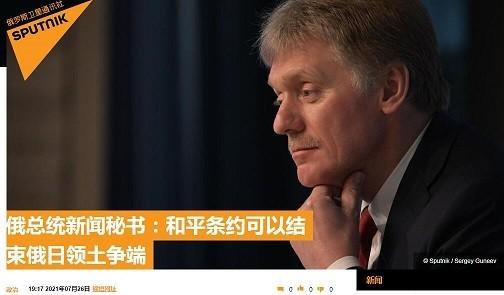 俄总统新闻秘书:和平条约可以结束俄日领土争端