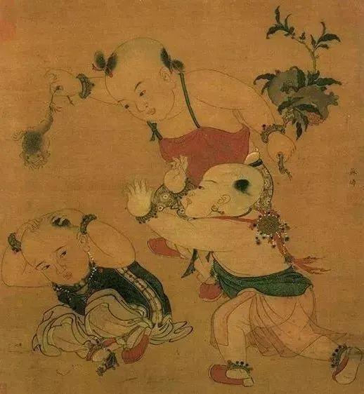 南宋·苏焯《端阳戏婴图》,童子手持石榴枝,暗示榴开百子。来源/网络