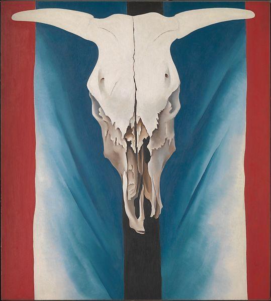 《牛头骨——红白蓝》,乔治亚·欧姬芙
