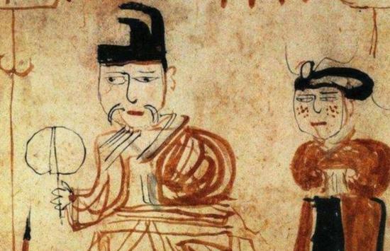 吐鲁番市阿斯塔那13号墓出土的东晋时期《墓主人生活图》纸画局部