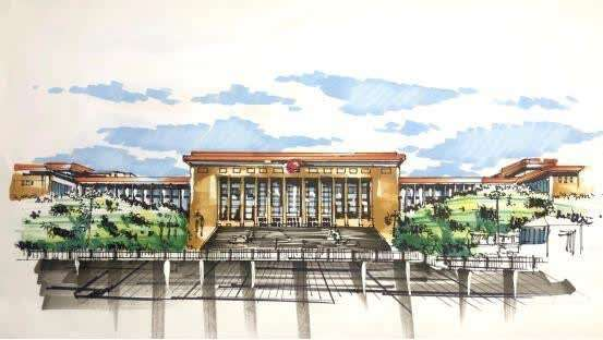 高校青年学子手绘红色建筑镌刻百年党史
