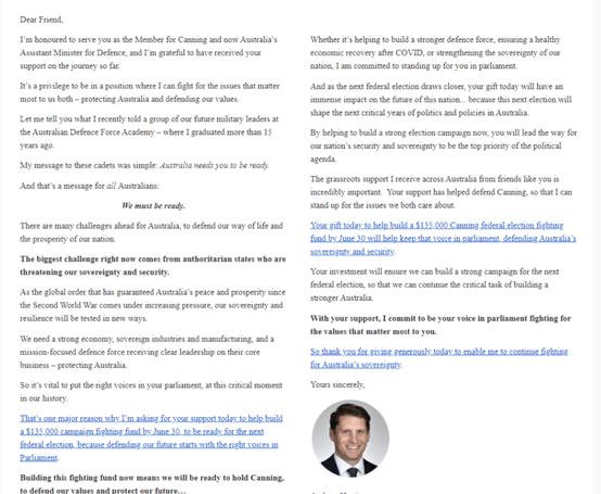 """(截图为《悉尼先驱晨报》给出的海斯蒂的那封要求人们给他""""打钱""""的信)"""