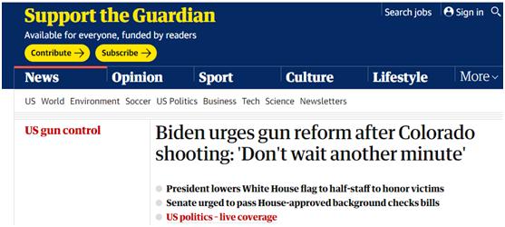 拜登呼吁加强控枪立法:一分钟都不想等