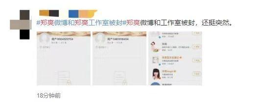 """郑爽个人及工作室账号被封自此互联网""""查无此人"""""""