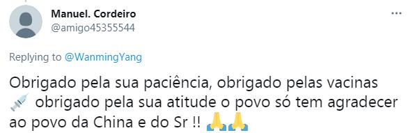 """▲巴西网友:""""感谢您的耐心,感谢疫苗。感谢您对人民的态度,对于中国人民我们只有感谢!"""""""