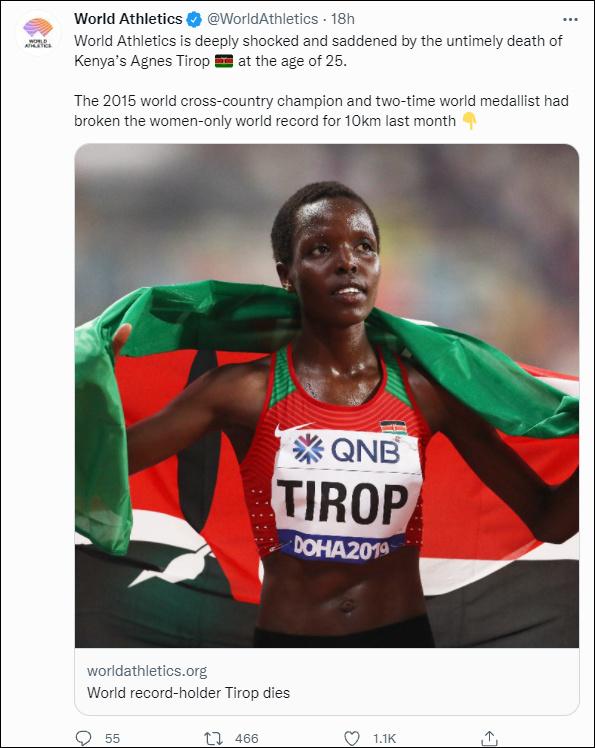 肯尼亚长跑运动员疑遭丈夫杀害,9月刚破世界纪录