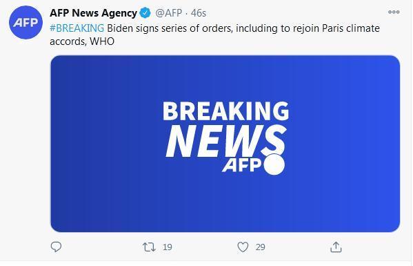 拜登签行政令重返世卫和巴黎协定