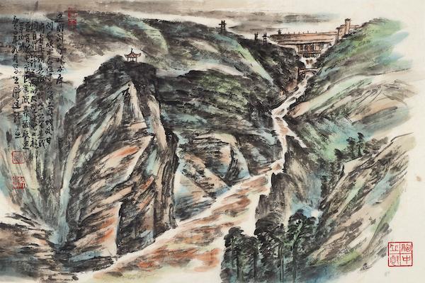 舒建新 刘家峡写生之二 纸本设色 45cm×68cm 2020年