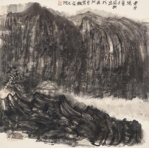 陈风新 老牛湾写生之一 纸本水墨 68cm×68cm 2020年