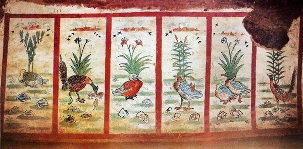 新疆吐鲁番阿斯塔那唐墓壁画花鸟六条屏
