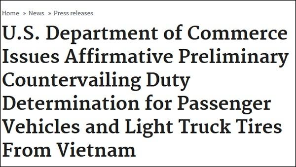 """""""美国商务部通过对越南汽车及轻型卡车的初步反补贴裁定"""",美商务部11月4日公告截图"""