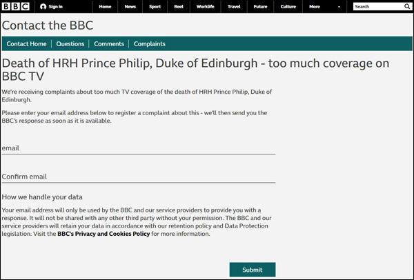 密集报道菲利普亲王去世,BBC遭投诉