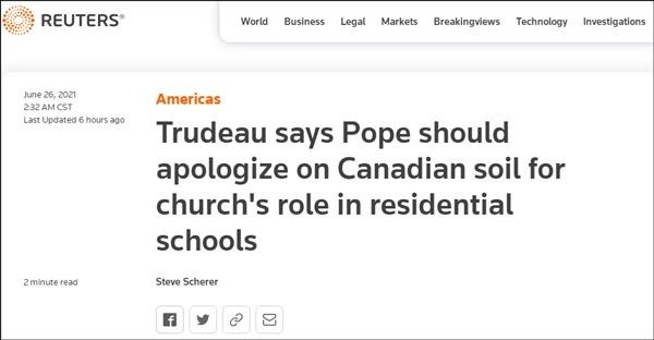 特鲁多:教皇应该来加拿大向原住民道歉