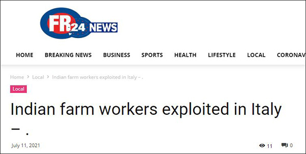 印度劳工控诉在意大利6年奴隶般受剥削的生活