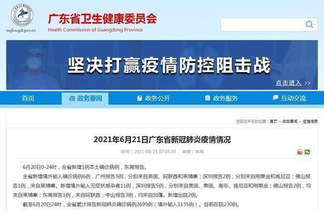 广东新增1例东莞报告本土确诊 全省新增境外输入6例