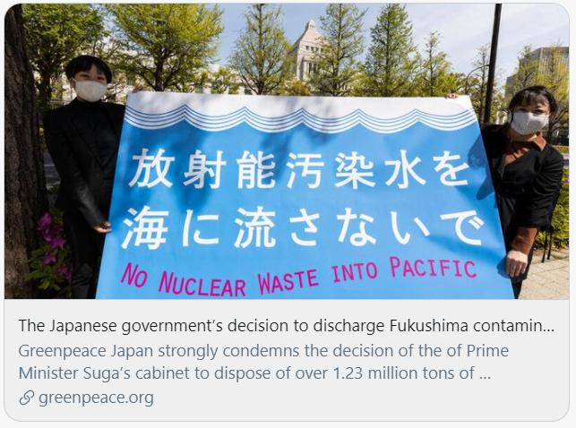 日本政府宣布核废水排海的决定是无视人权与国际海洋公约的行为。绿色和平组织报告截图