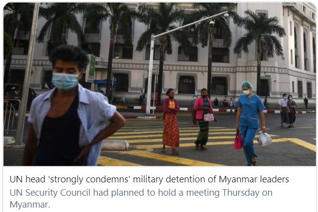 联合国秘书长古特雷斯谴责缅甸军方扣留政府领导人。/推特截图