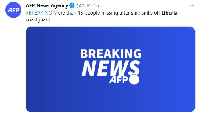 外媒:利比里亚沉船致15人以上失踪