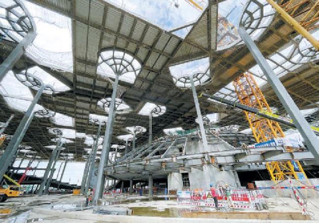 """城市副中心图书馆启动金属屋顶安装,城市绿心将盖上""""文化印章"""""""