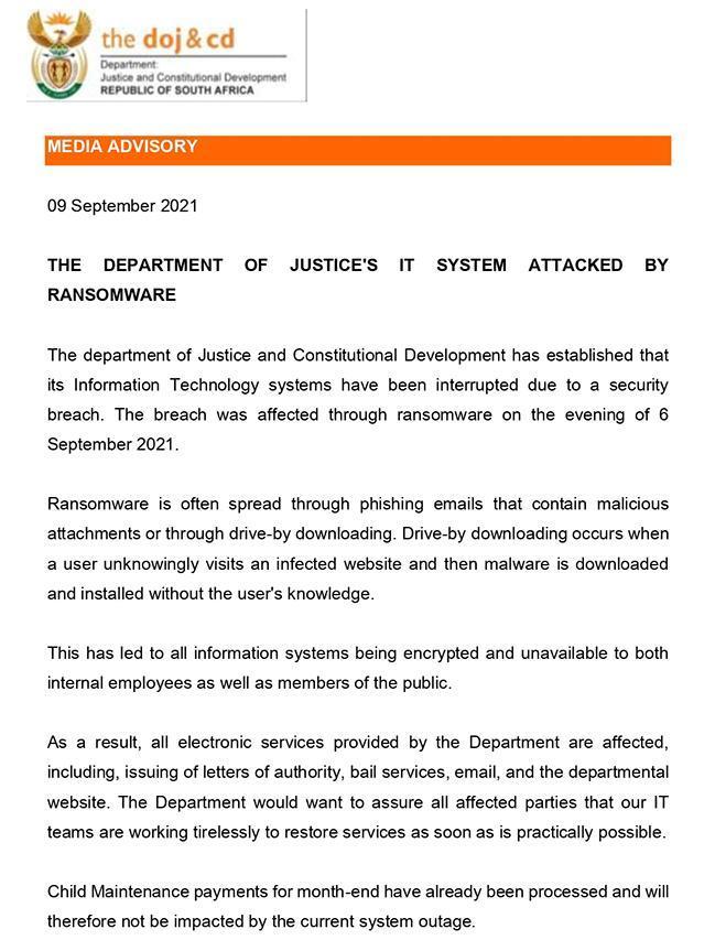 南非司法部网络系统遭到黑客攻击 陷入瘫痪