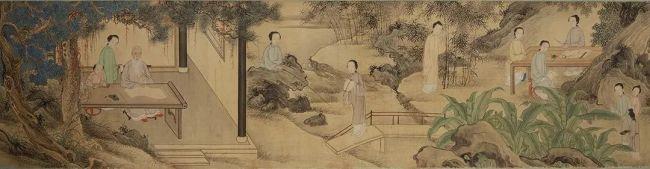 清 尤诏、汪恭《随园请业图》(局部)苏州博物馆藏