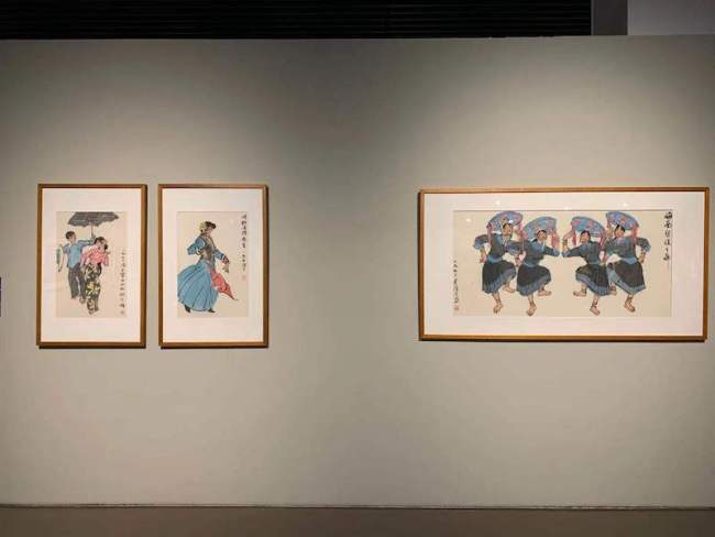 展览现场,叶浅予舞蹈系列作品