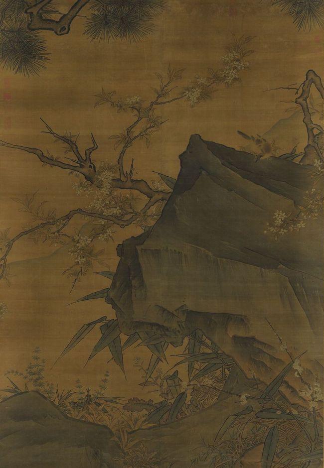 宋马远《画梨花山鸟》轴 台北故宫博物院藏