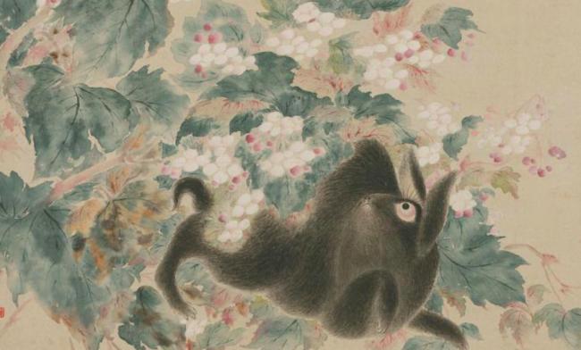 清 华嵒 《海棠禽兔图》轴(局部)
