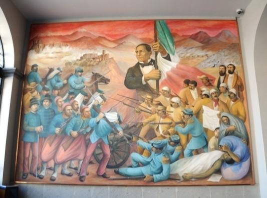 描绘墨西哥功勋总统贝尼托·华雷斯带领人民抗击法国入侵者的大型壁画。