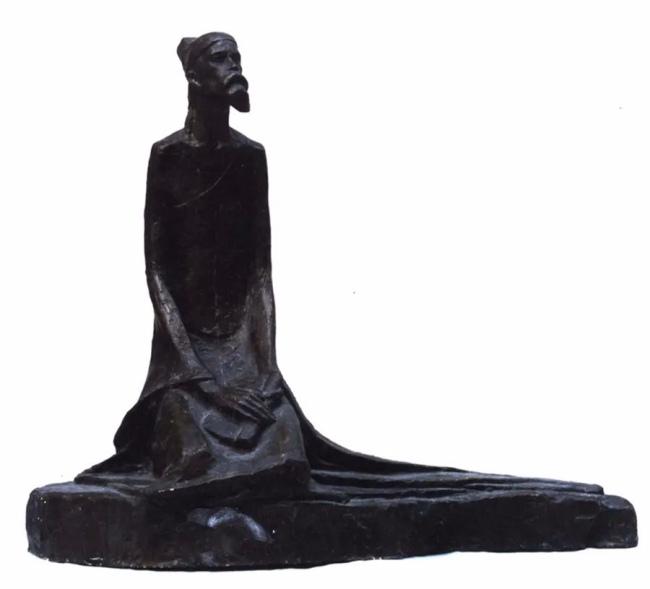 钱绍武 《杜甫坐像之一》  铸铜  高70cm 1982年