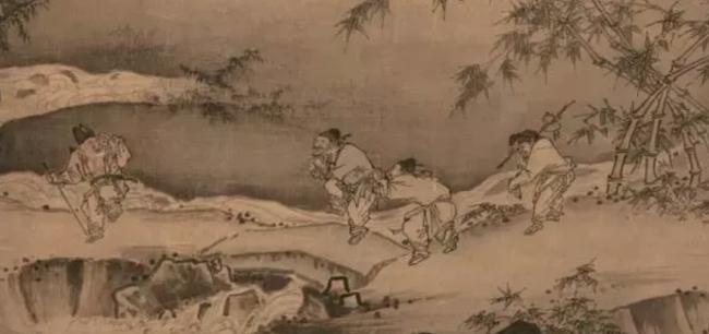 宋代马远(1140-1225)以农民劳动为绘画主题的《踏歌图》,田埂上是一群农民欢笑踏歌。