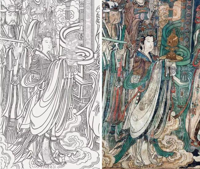 永乐宫壁画白描及壁画对比