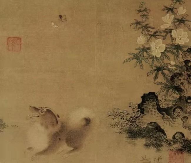 南宋《秋葵犬蝶图》局部 辽宁省博物馆藏