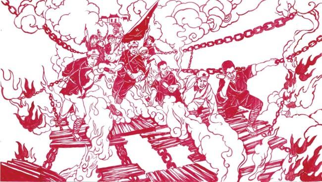 """▲任智需""""献礼中国共产党100周年——百年百幅巨幅剪纸""""之《飞夺泸定桥》"""