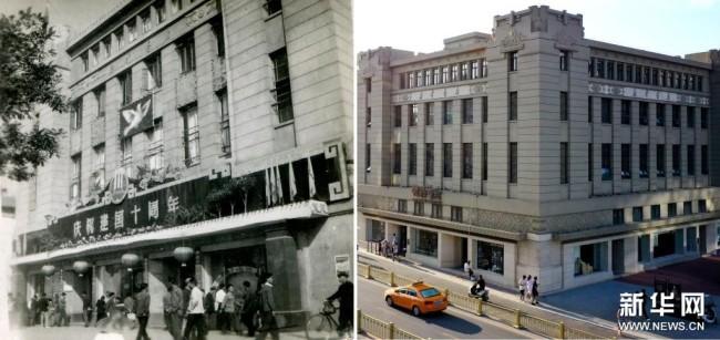 这是一张拼版照片,左图为:1959年西安钟楼书店外景(钟楼书店供图);右图为:无人机拍摄的西安钟楼书店外景(8月27日,新华社记者刘潇摄)。新华社发