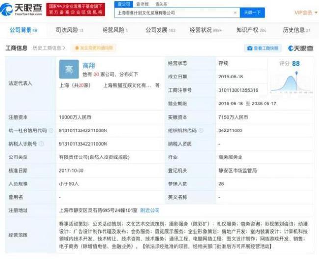 王思聪与父亲王健林共同成立公司 注资一个亿