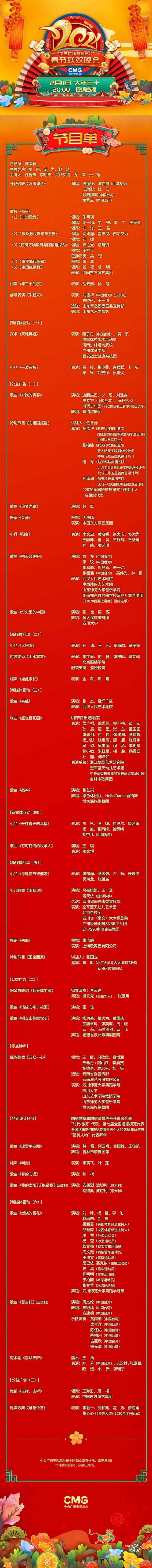 2021年春晚节目单出炉:任鲁豫李思思任主持人